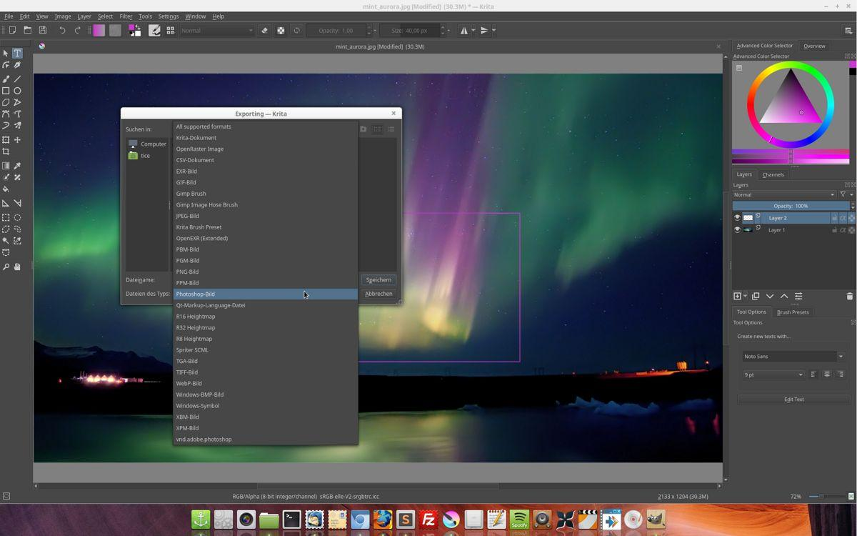 Linux Mint Krita Grafikprogramm gross